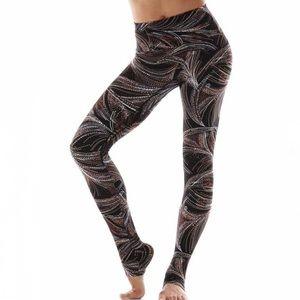 K-Deer High Rise Jazz Print Yoga Leggings Brown